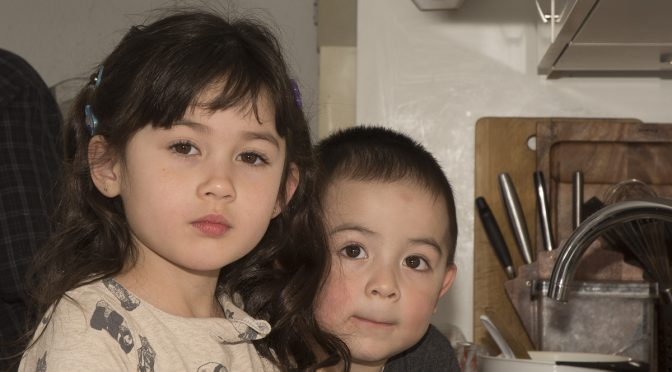 Børnene laver jordbæris – det er en fest